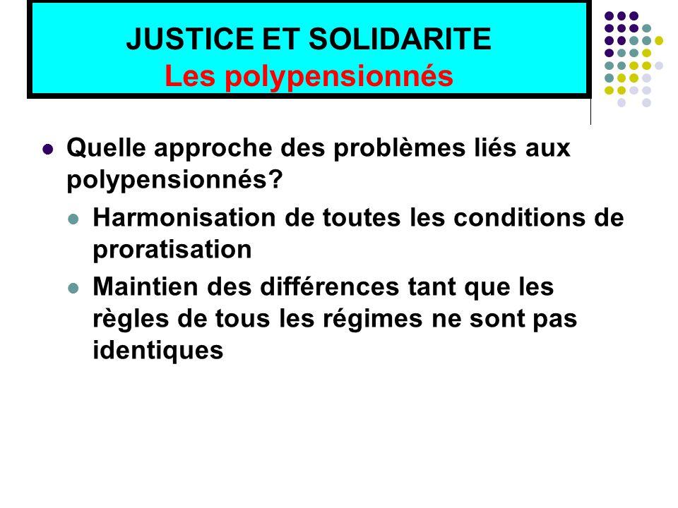 JUSTICE ET SOLIDARITE Les polypensionnés Quelle approche des problèmes liés aux polypensionnés.