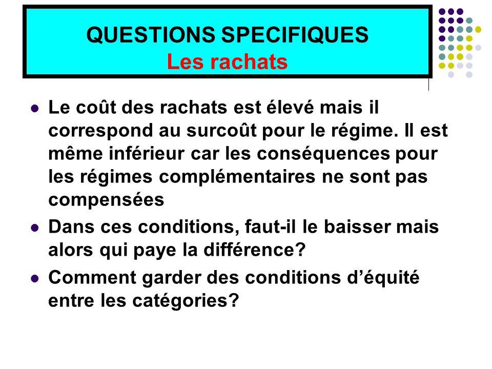 QUESTIONS SPECIFIQUES Les rachats Le coût des rachats est élevé mais il correspond au surcoût pour le régime.