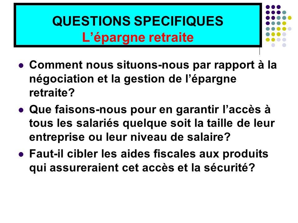 QUESTIONS SPECIFIQUES L'épargne retraite Comment nous situons-nous par rapport à la négociation et la gestion de l'épargne retraite.