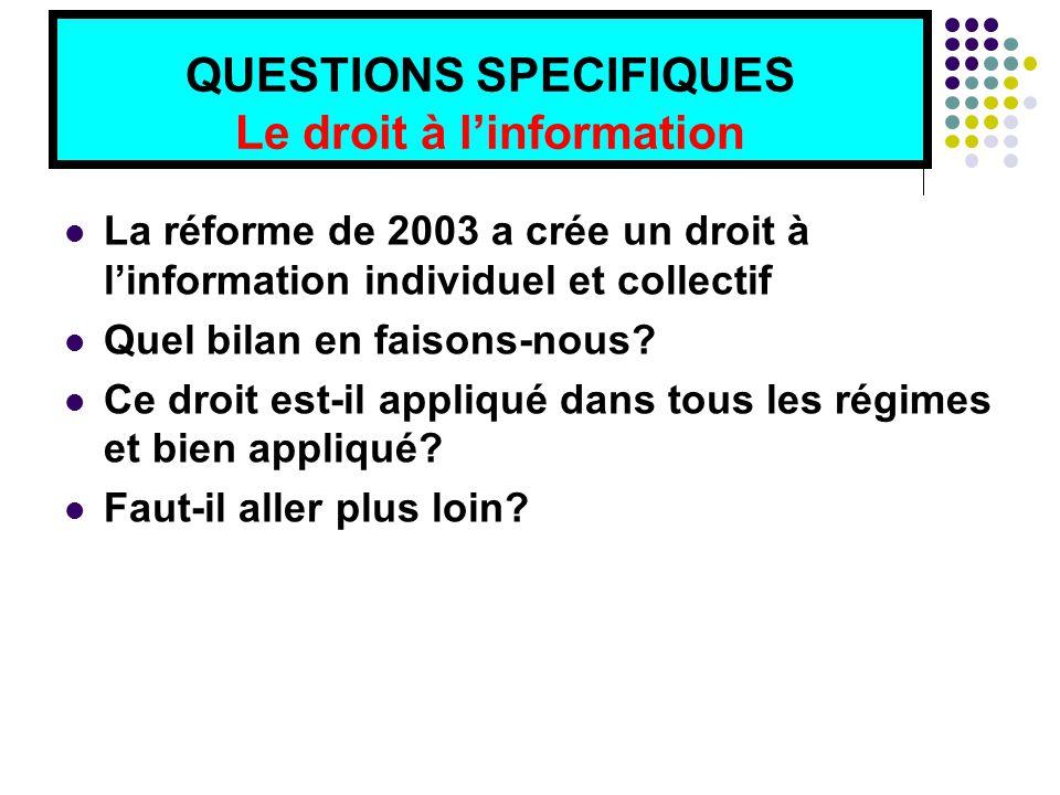 QUESTIONS SPECIFIQUES Le droit à l'information La réforme de 2003 a crée un droit à l'information individuel et collectif Quel bilan en faisons-nous.