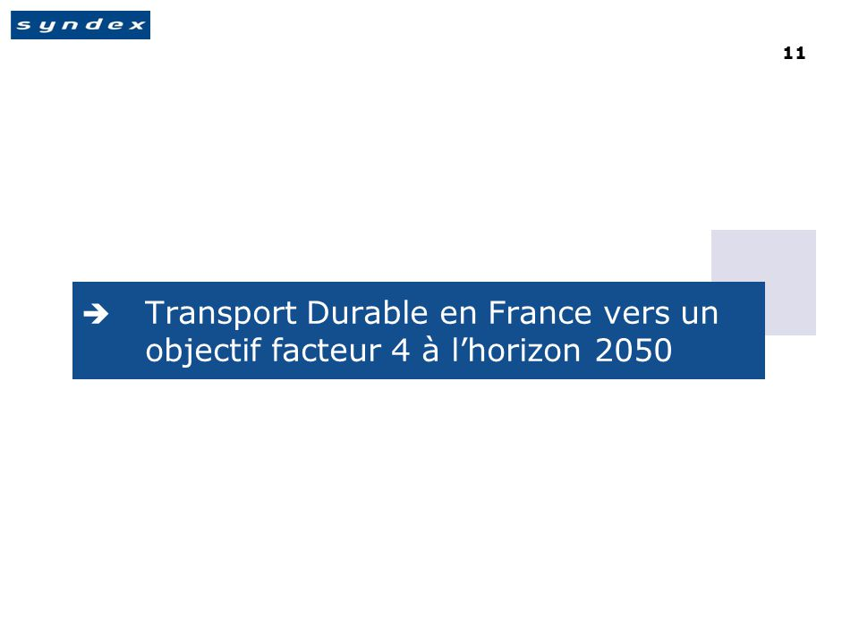 11  Transport Durable en France vers un objectif facteur 4 à l'horizon 2050