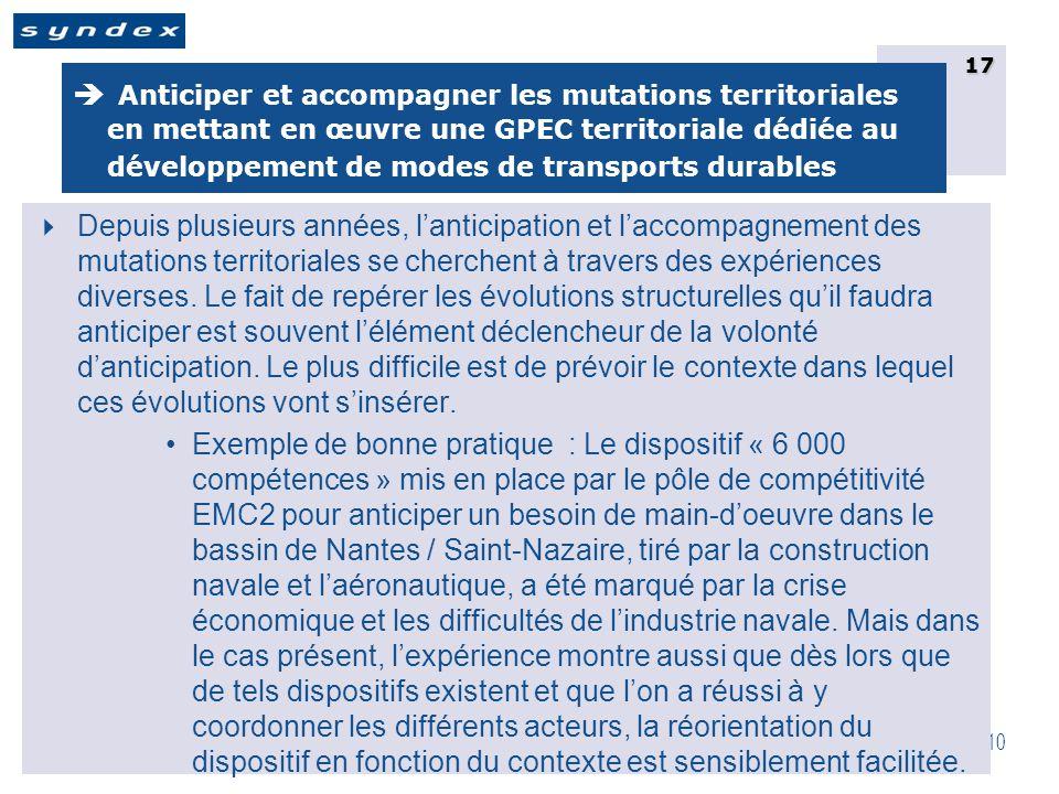 CRTE IdF 29 Juin 2010 17  Anticiper et accompagner les mutations territoriales en mettant en œuvre une GPEC territoriale dédiée au développement de modes de transports durables  Depuis plusieurs années, l'anticipation et l'accompagnement des mutations territoriales se cherchent à travers des expériences diverses.