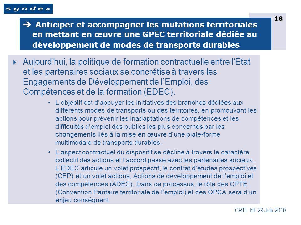 CRTE IdF 29 Juin 2010 18  Aujourd'hui, la politique de formation contractuelle entre l'État et les partenaires sociaux se concrétise à travers les Engagements de Développement de l'Emploi, des Compétences et de la formation (EDEC).