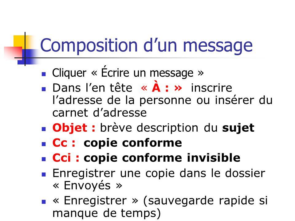 Composition d'un message Cliquer « Écrire un message » Dans l'en tête « À : » inscrire l'adresse de la personne ou insérer du carnet d'adresse Objet :