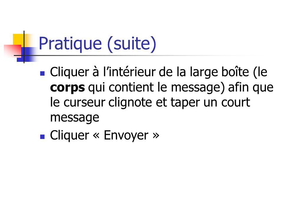 Pratique (suite) Cliquer à l'intérieur de la large boîte (le corps qui contient le message) afin que le curseur clignote et taper un court message Cli