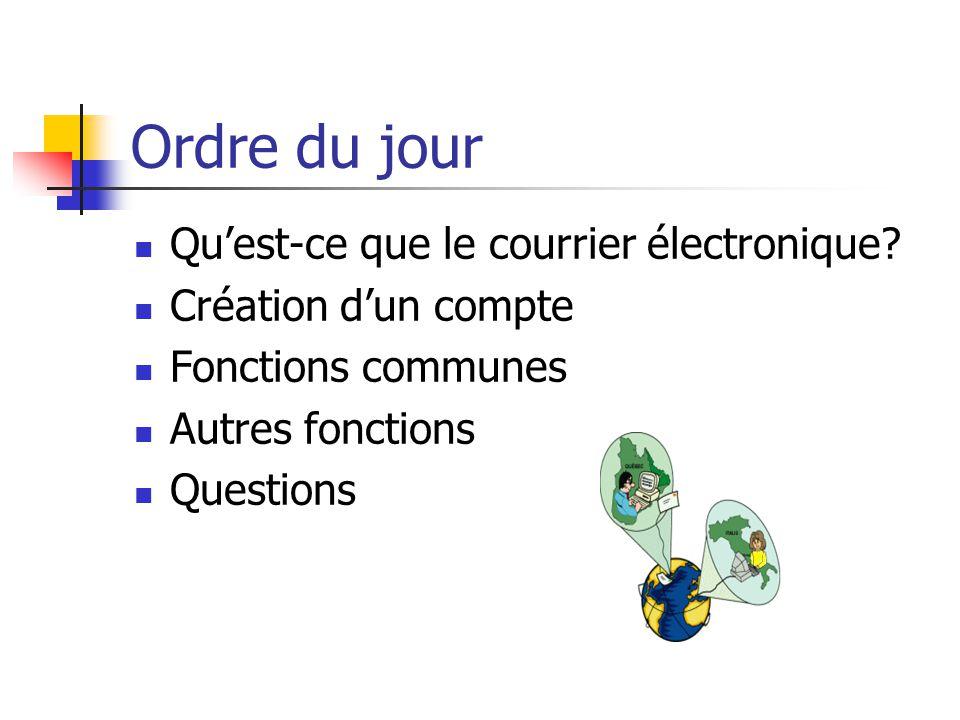 Ordre du jour Qu'est-ce que le courrier électronique? Création d'un compte Fonctions communes Autres fonctions Questions
