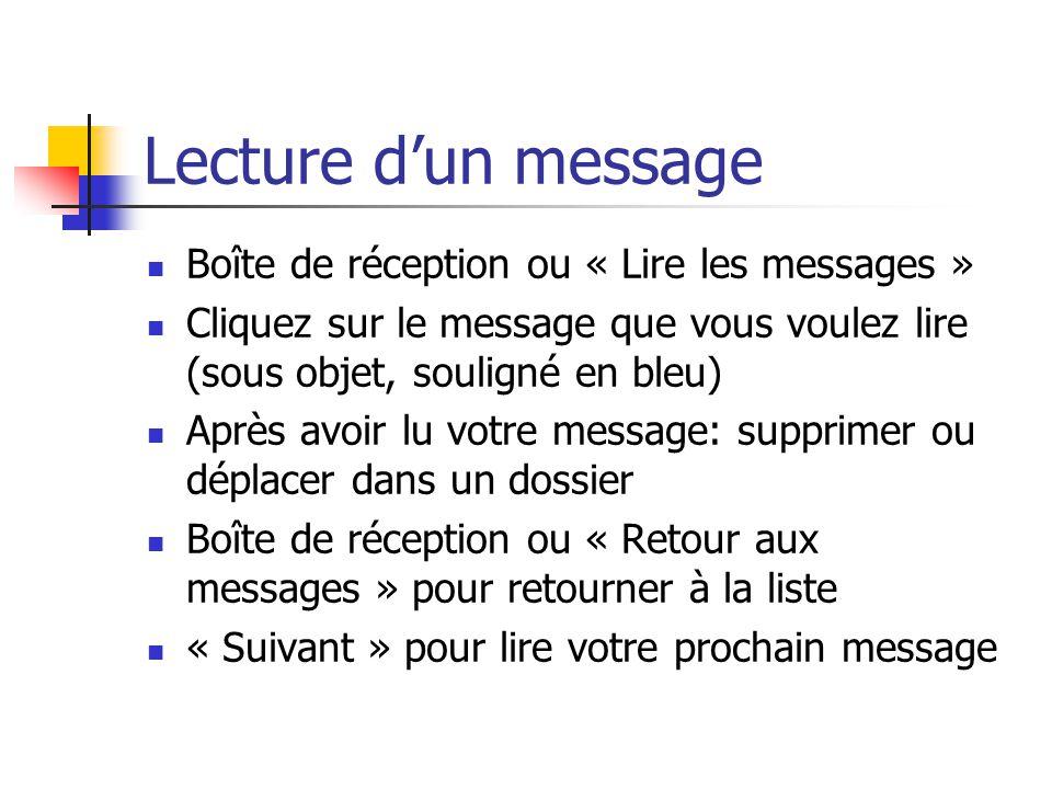 Lecture d'un message Boîte de réception ou « Lire les messages » Cliquez sur le message que vous voulez lire (sous objet, souligné en bleu) Après avoi