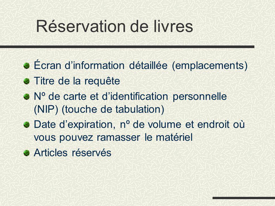 Réservation de livres Écran d'information détaillée (emplacements) Titre de la requête Nº de carte et d'identification personnelle (NIP) (touche de ta