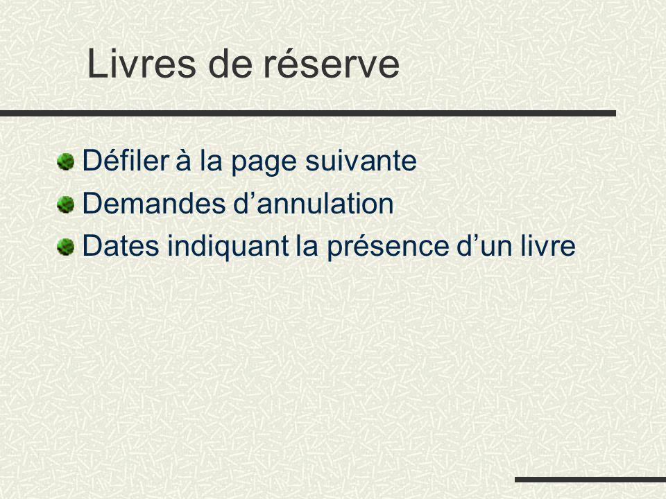 Livres de réserve Défiler à la page suivante Demandes d'annulation Dates indiquant la présence d'un livre