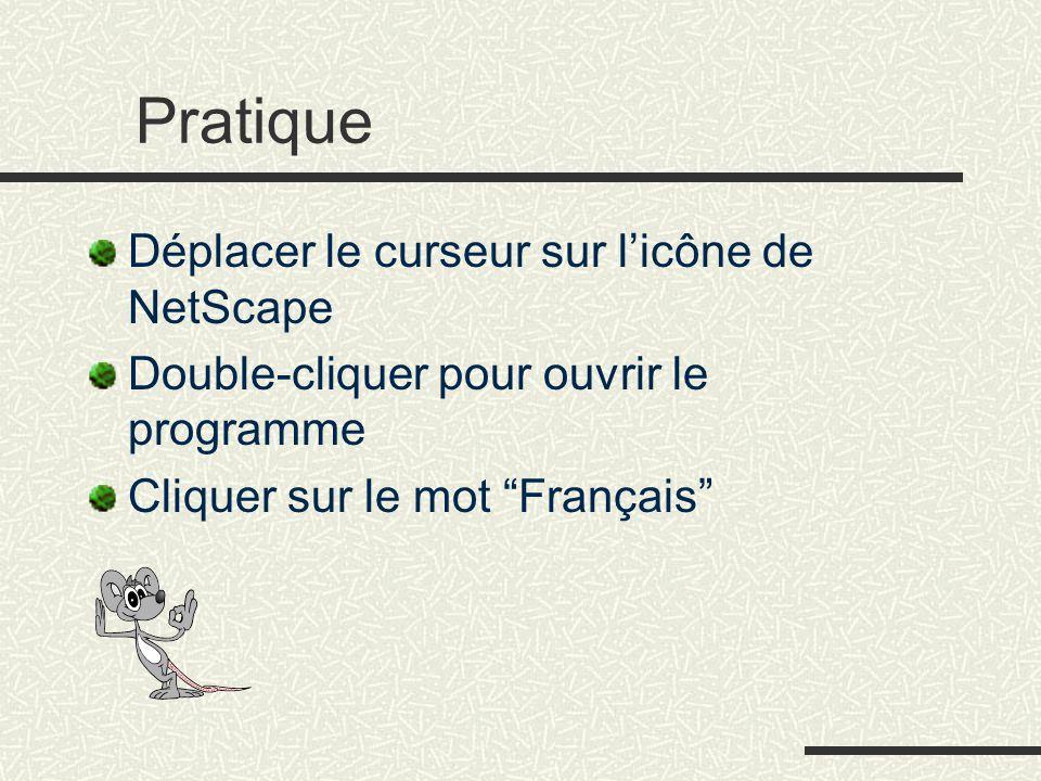 """Pratique Déplacer le curseur sur l'icône de NetScape Double-cliquer pour ouvrir le programme Cliquer sur le mot """"Français"""""""