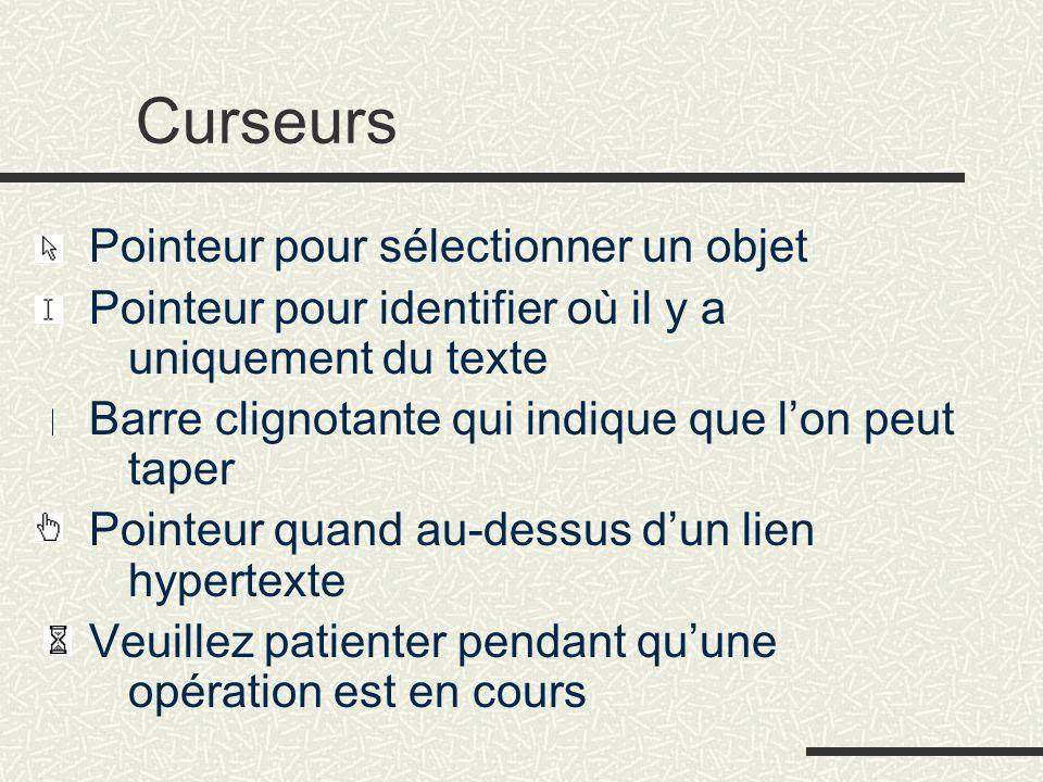 Curseurs Pointeur pour sélectionner un objet Pointeur pour identifier où il y a uniquement du texte Barre clignotante qui indique que l'on peut taper