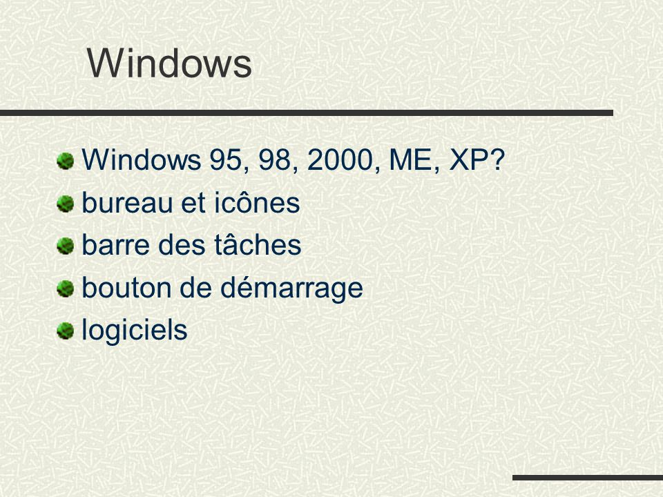 Windows Windows 95, 98, 2000, ME, XP.