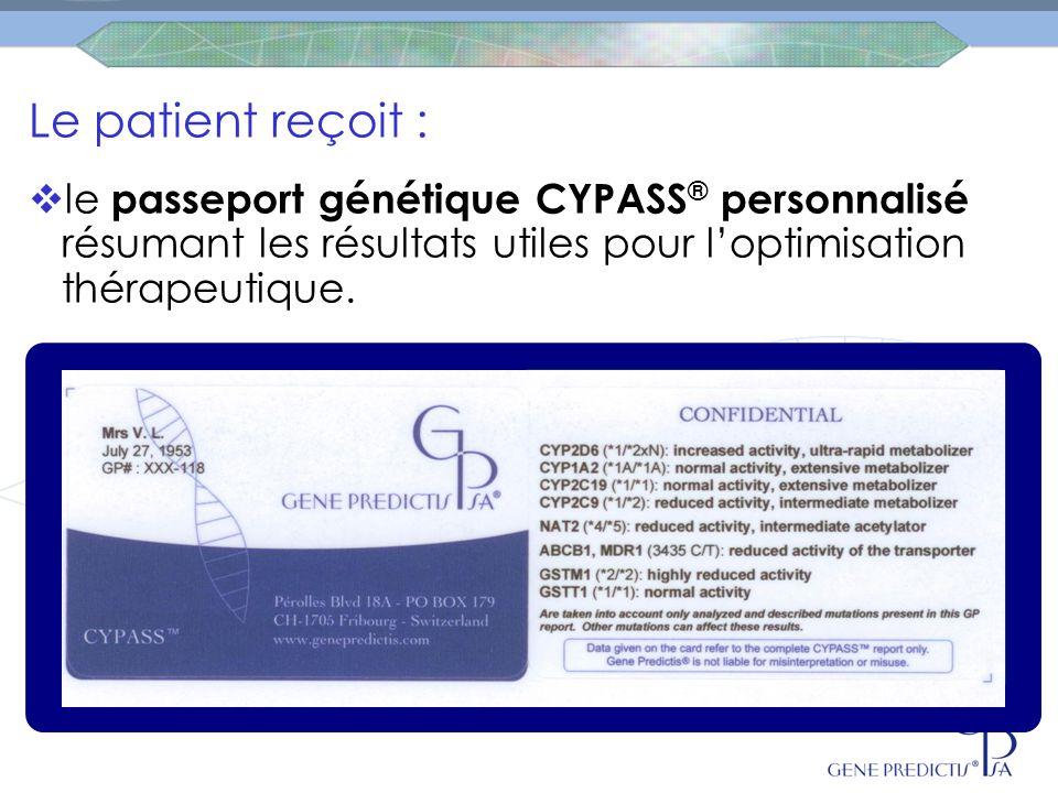 Le patient reçoit :  le passeport génétique CYPASS ® personnalisé résumant les résultats utiles pour l'optimisation thérapeutique.