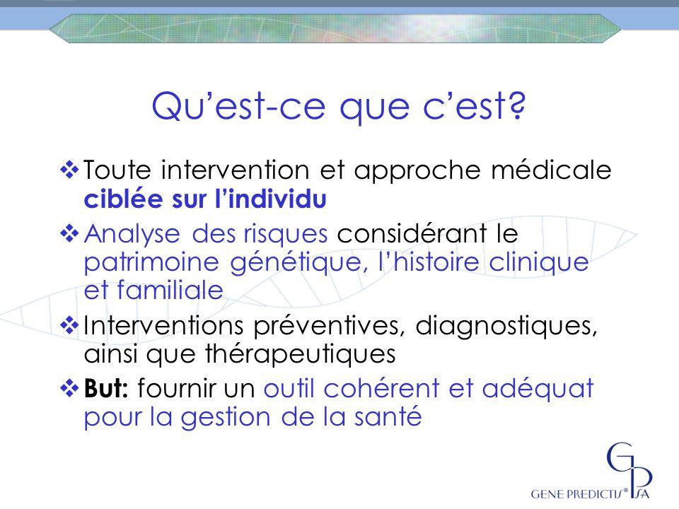 Qu ' est-ce que c ' est?  Toute intervention et approche médicale ciblée sur l'individu  Analyse des risques considérant le patrimoine génétique, l'