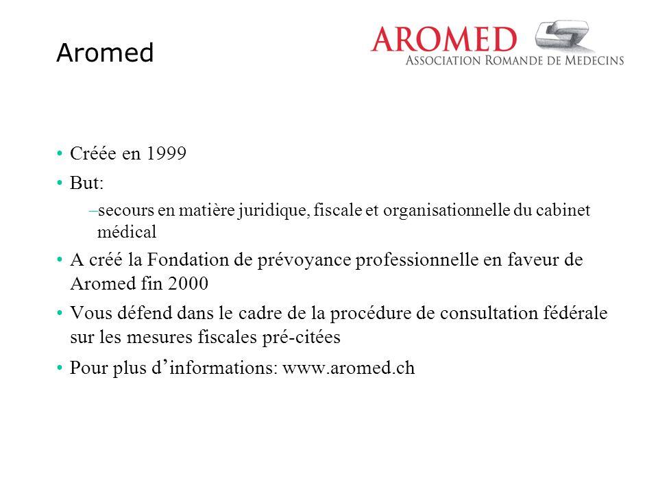 Créée en 1999 But: –secours en matière juridique, fiscale et organisationnelle du cabinet médical A créé la Fondation de prévoyance professionnelle en