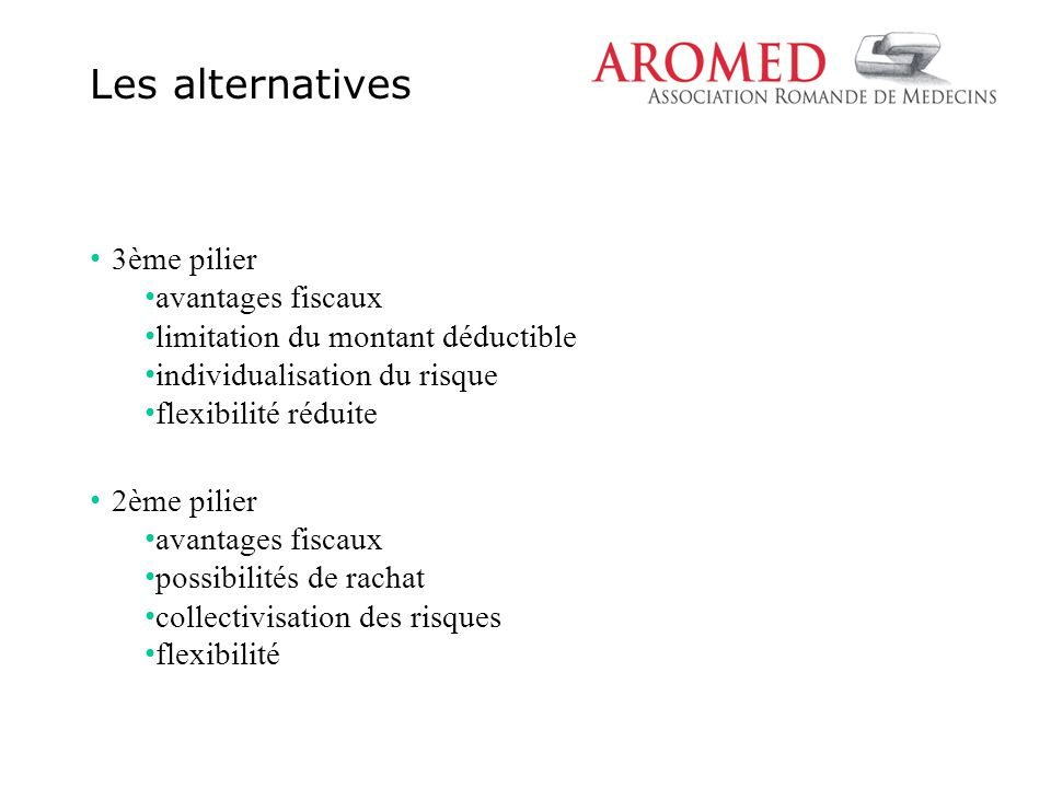 3ème pilier avantages fiscaux limitation du montant déductible individualisation du risque flexibilité réduite 2ème pilier avantages fiscaux possibili