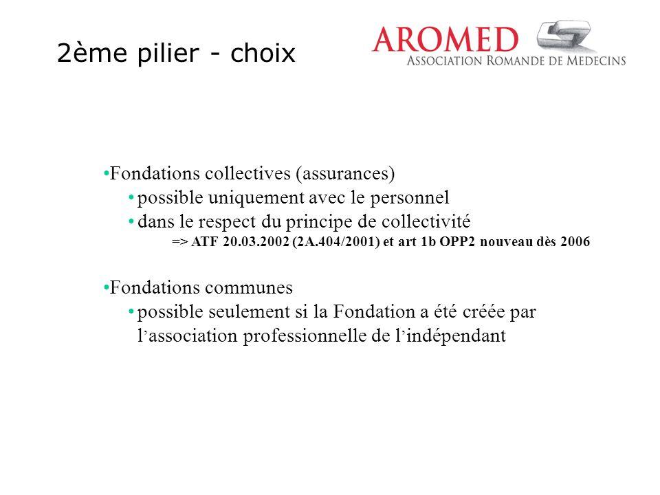 2ème pilier - choix Fondations collectives (assurances) possible uniquement avec le personnel dans le respect du principe de collectivité => ATF 20.03