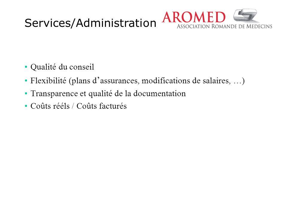 Qualité du conseil Flexibilité (plans d ' assurances, modifications de salaires, …) Transparence et qualité de la documentation Coûts rééls / Coûts facturés Services/Administration