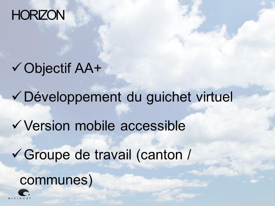 HORIZON Objectif AA+ Développement du guichet virtuel Version mobile accessible Groupe de travail (canton / communes)