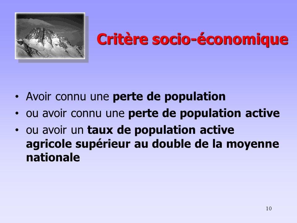 10 Critère socio-économique Critère socio-économique Avoir connu une perte de population ou avoir connu une perte de population active ou avoir un taux de population active agricole supérieur au double de la moyenne nationale