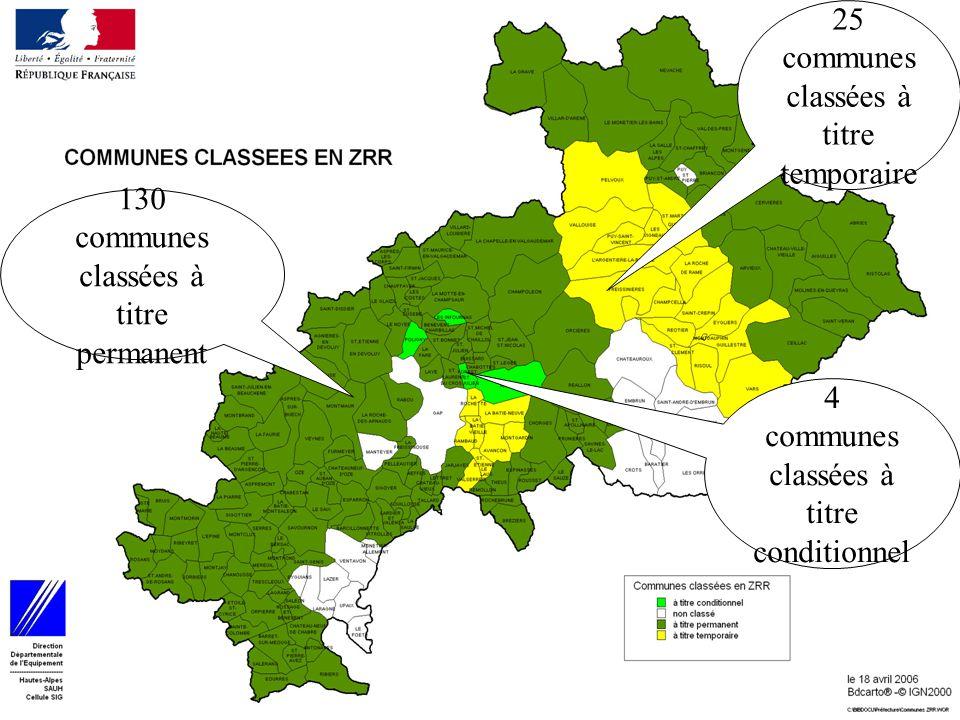 14 25 communes classées à titre temporaire 4 communes classées à titre conditionnel 130 communes classées à titre permanent
