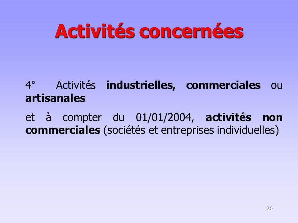 20 4° Activités industrielles, commerciales ou artisanales et à compter du 01/01/2004, activités non commerciales (sociétés et entreprises individuelles) Activités concernées