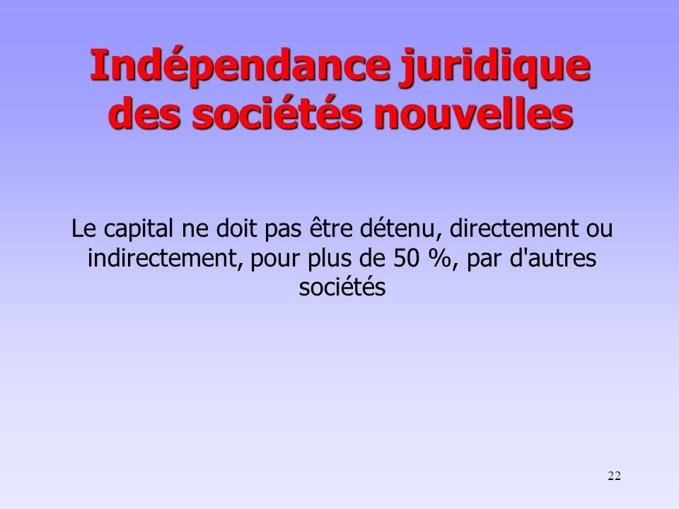 22 Le capital ne doit pas être détenu, directement ou indirectement, pour plus de 50 %, par d autres sociétés Indépendance juridique des sociétés nouvelles