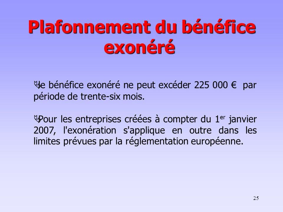 25  le bénéfice exonéré ne peut excéder 225 000 € par période de trente-six mois.
