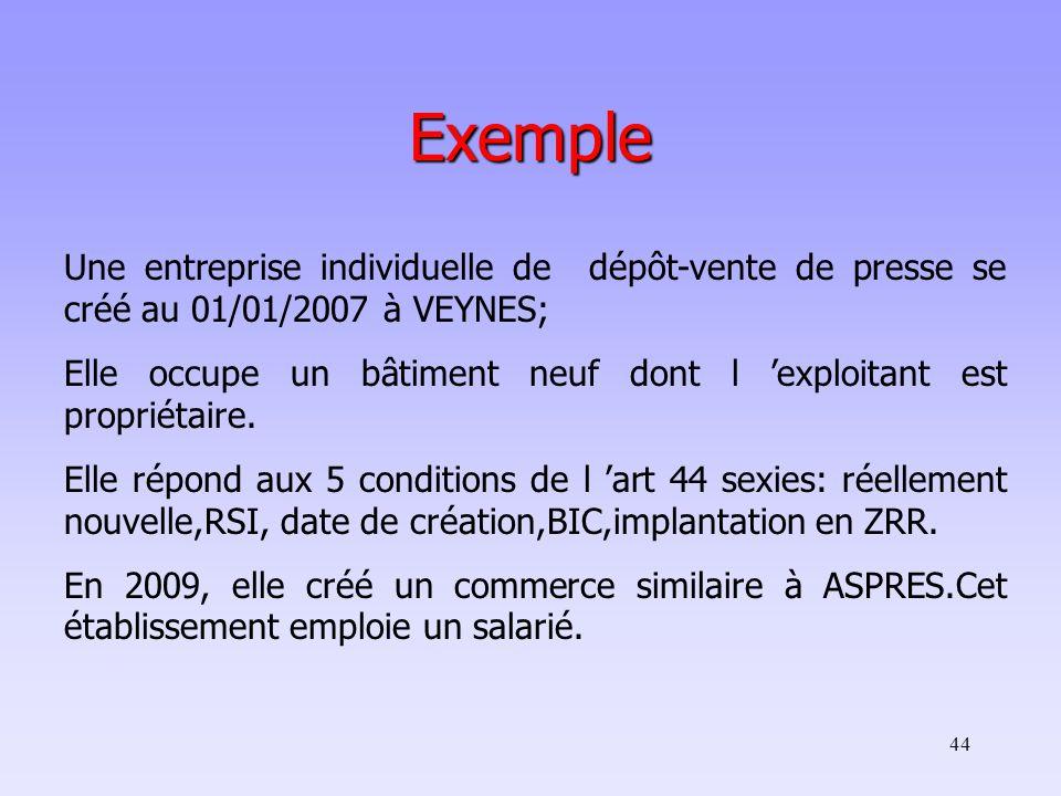 44 Exemple Une entreprise individuelle de dépôt-vente de presse se créé au 01/01/2007 à VEYNES; Elle occupe un bâtiment neuf dont l 'exploitant est propriétaire.