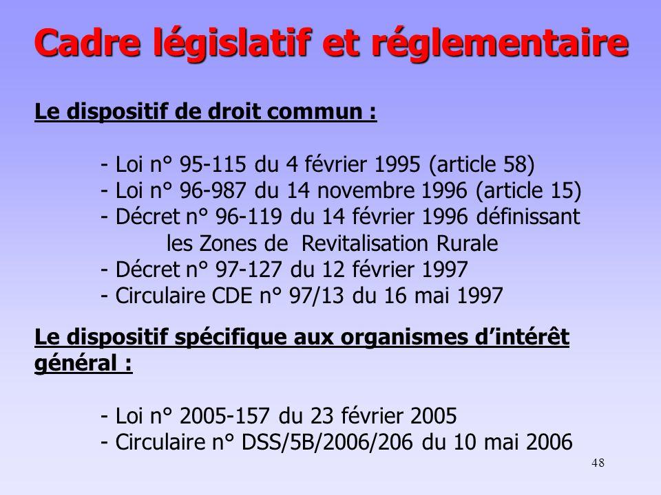 48 Cadre législatif et réglementaire Le dispositif de droit commun : - Loi n° 95-115 du 4 février 1995 (article 58) - Loi n° 96-987 du 14 novembre 1996 (article 15) - Décret n° 96-119 du 14 février 1996 définissant les Zones de Revitalisation Rurale - Décret n° 97-127 du 12 février 1997 - Circulaire CDE n° 97/13 du 16 mai 1997 Le dispositif spécifique aux organismes d'intérêt général : - Loi n° 2005-157 du 23 février 2005 - Circulaire n° DSS/5B/2006/206 du 10 mai 2006