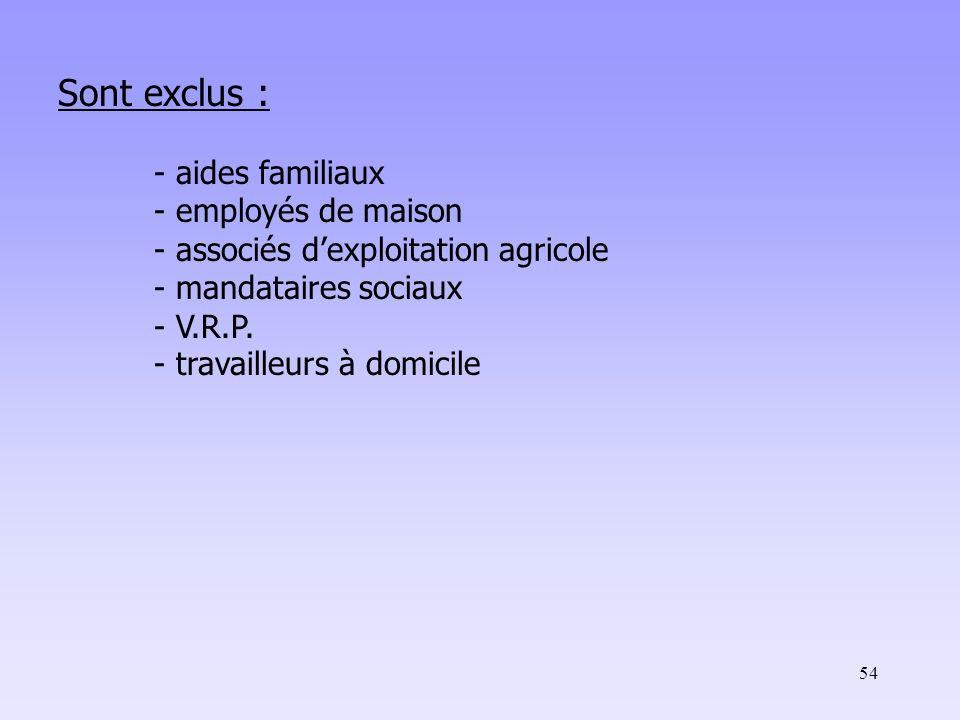 54 Sont exclus : - aides familiaux - employés de maison - associés d'exploitation agricole - mandataires sociaux - V.R.P.