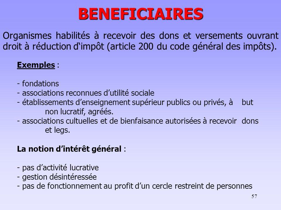 57 BENEFICIAIRES Organismes habilités à recevoir des dons et versements ouvrant droit à réduction d'impôt (article 200 du code général des impôts).
