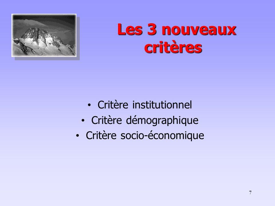 7 Les 3 nouveaux critères Les 3 nouveaux critères Critère institutionnel Critère démographique Critère socio-économique