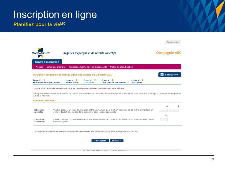 Planifiez pour la vie MC Inscription en ligne 39