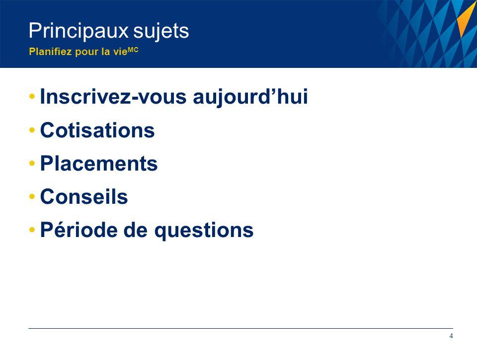 Planifiez pour la vie MC Principaux sujets Inscrivez-vous aujourd'hui Cotisations Placements Conseils Période de questions 4