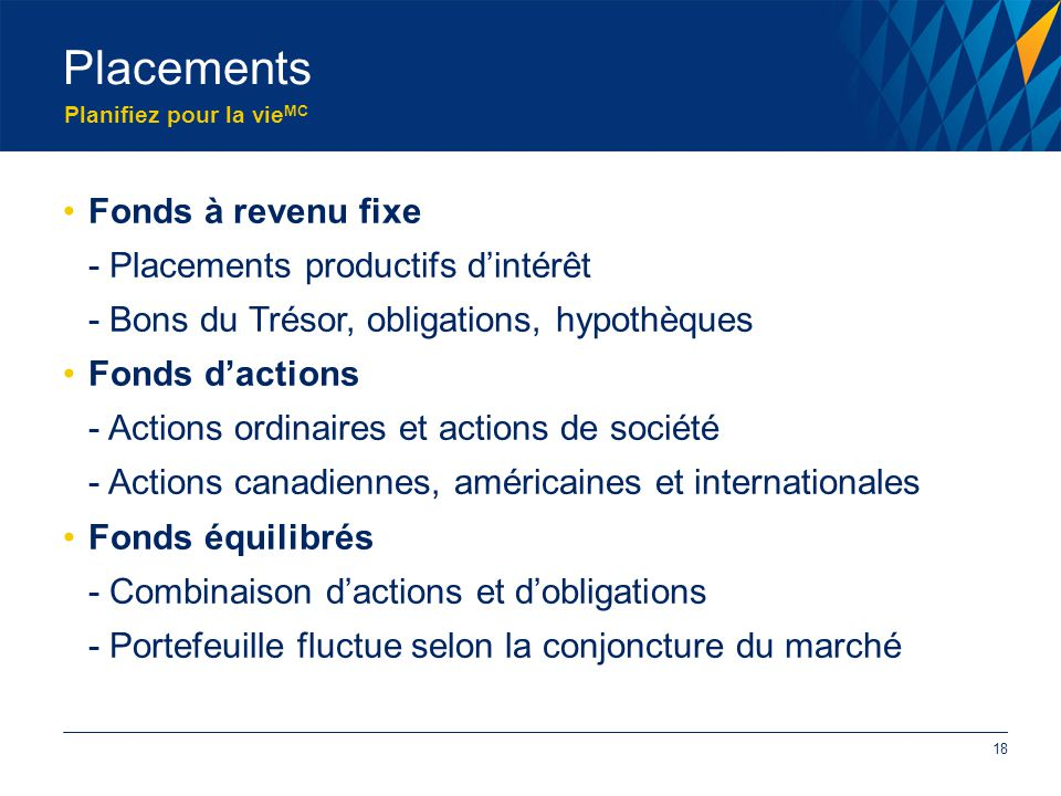 Planifiez pour la vie MC Fonds à revenu fixe - Placements productifs d'intérêt - Bons du Trésor, obligations, hypothèques Fonds d'actions - Actions ordinaires et actions de société - Actions canadiennes, américaines et internationales Fonds équilibrés - Combinaison d'actions et d'obligations - Portefeuille fluctue selon la conjoncture du marché Placements 18