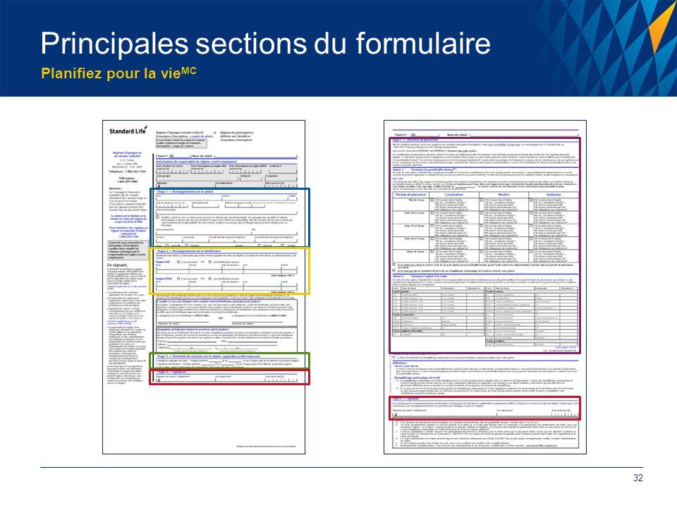 Planifiez pour la vie MC Principales sections du formulaire 32