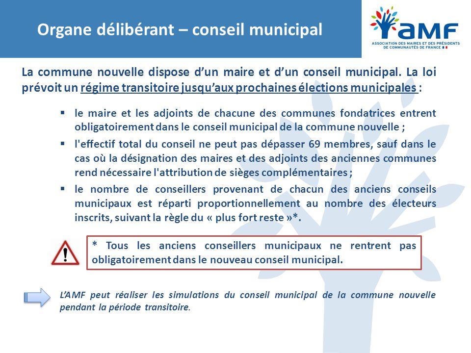 Organe délibérant – conseil municipal La commune nouvelle dispose d'un maire et d'un conseil municipal. La loi prévoit un régime transitoire jusqu'aux