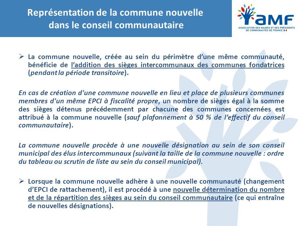 Représentation de la commune nouvelle dans le conseil communautaire  La commune nouvelle, créée au sein du périmètre d'une même communauté, bénéficie