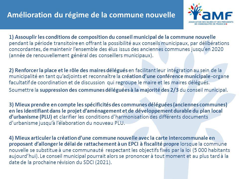Amélioration du régime de la commune nouvelle 1) Assouplir les conditions de composition du conseil municipal de la commune nouvelle pendant la périod