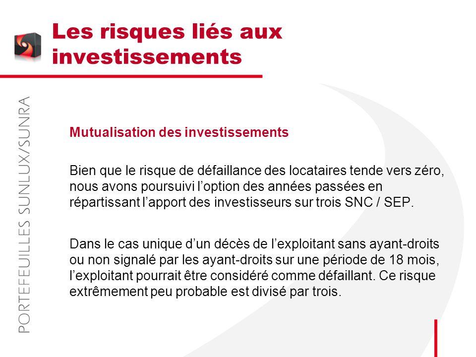 Les risques liés aux investissements Mutualisation des investissements Bien que le risque de défaillance des locataires tende vers zéro, nous avons po