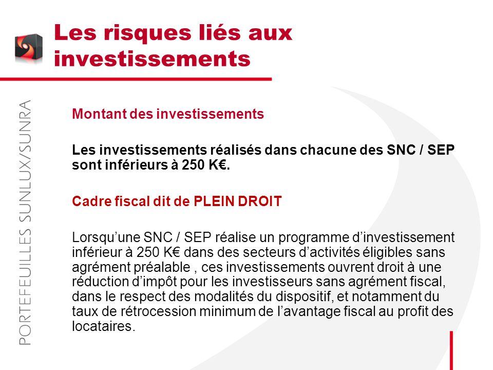 Les risques liés aux investissements Montant des investissements Les investissements réalisés dans chacune des SNC / SEP sont inférieurs à 250 K€. Cad