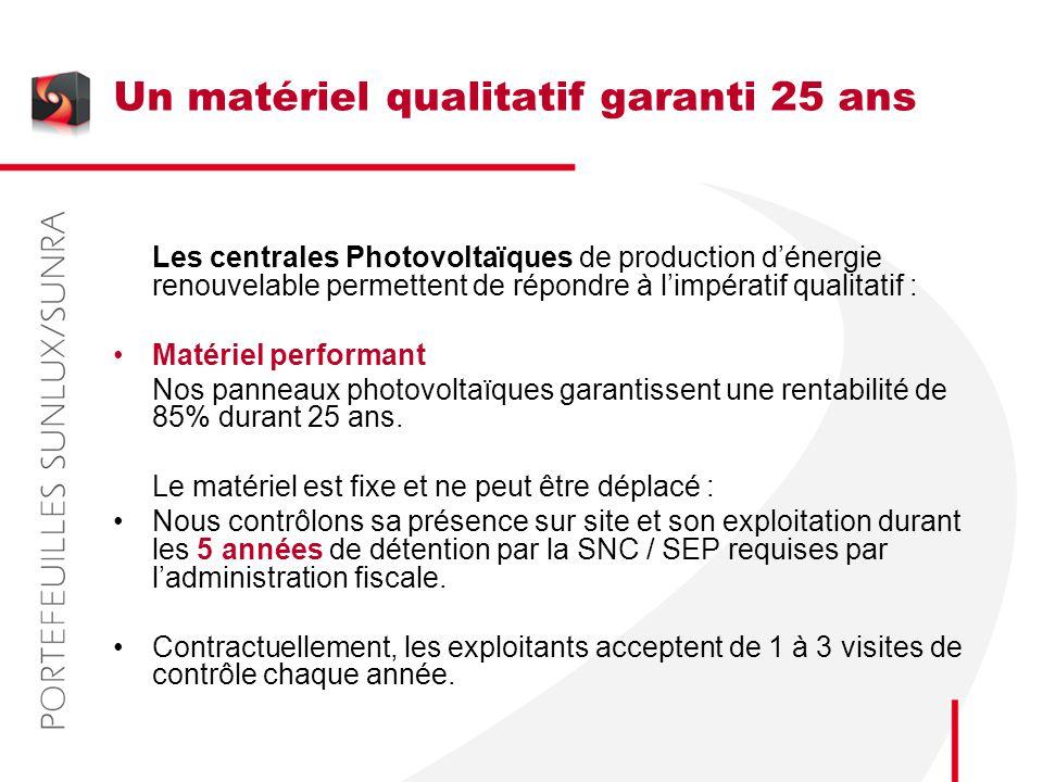 Un matériel qualitatif garanti 25 ans Les centrales Photovoltaïques de production d'énergie renouvelable permettent de répondre à l'impératif qualitat