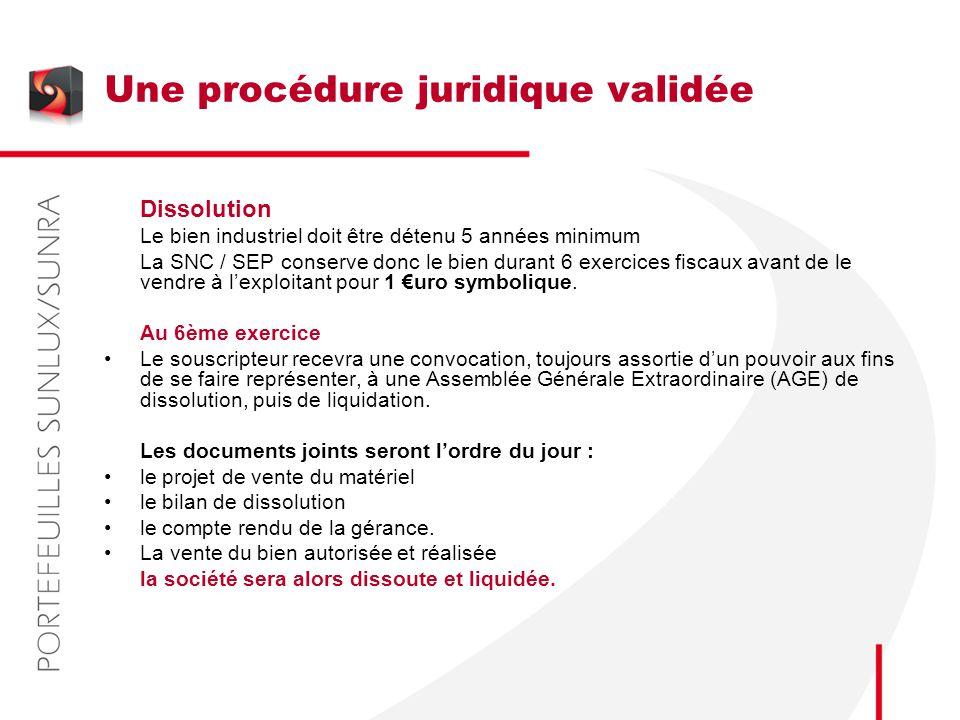 Une procédure juridique validée Dissolution Le bien industriel doit être détenu 5 années minimum La SNC / SEP conserve donc le bien durant 6 exercices