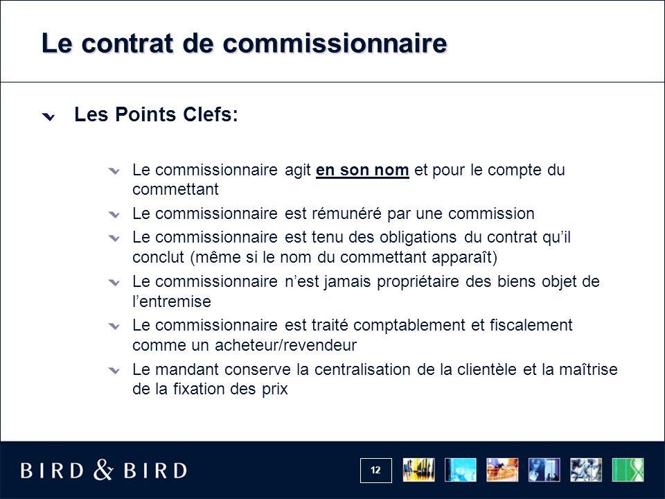 12 Le contrat de commissionnaire Les Points Clefs: Le commissionnaire agit en son nom et pour le compte du commettant Le commissionnaire est rémunéré