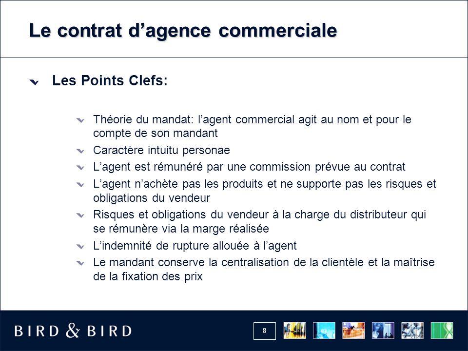 8 Le contrat d'agence commerciale Les Points Clefs: Théorie du mandat: l'agent commercial agit au nom et pour le compte de son mandant Caractère intui