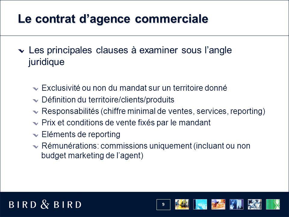 9 Le contrat d'agence commerciale Les principales clauses à examiner sous l'angle juridique Exclusivité ou non du mandat sur un territoire donné Défin
