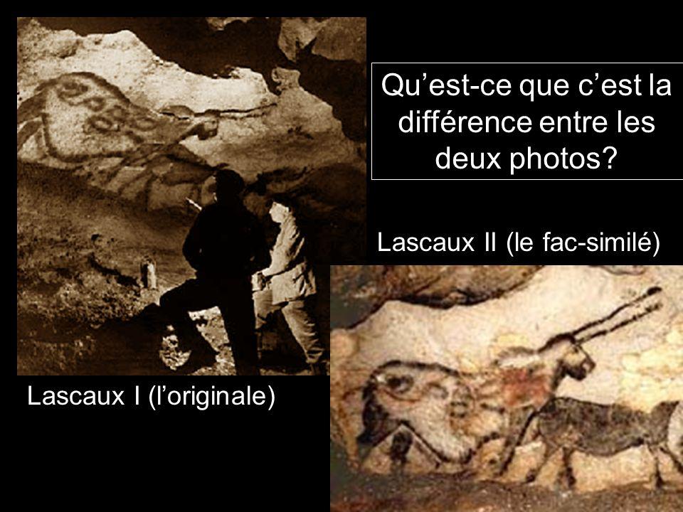 Qu'est-ce que c'est la différence entre les deux photos? Lascaux I (l'originale) Lascaux II (le fac-similé)