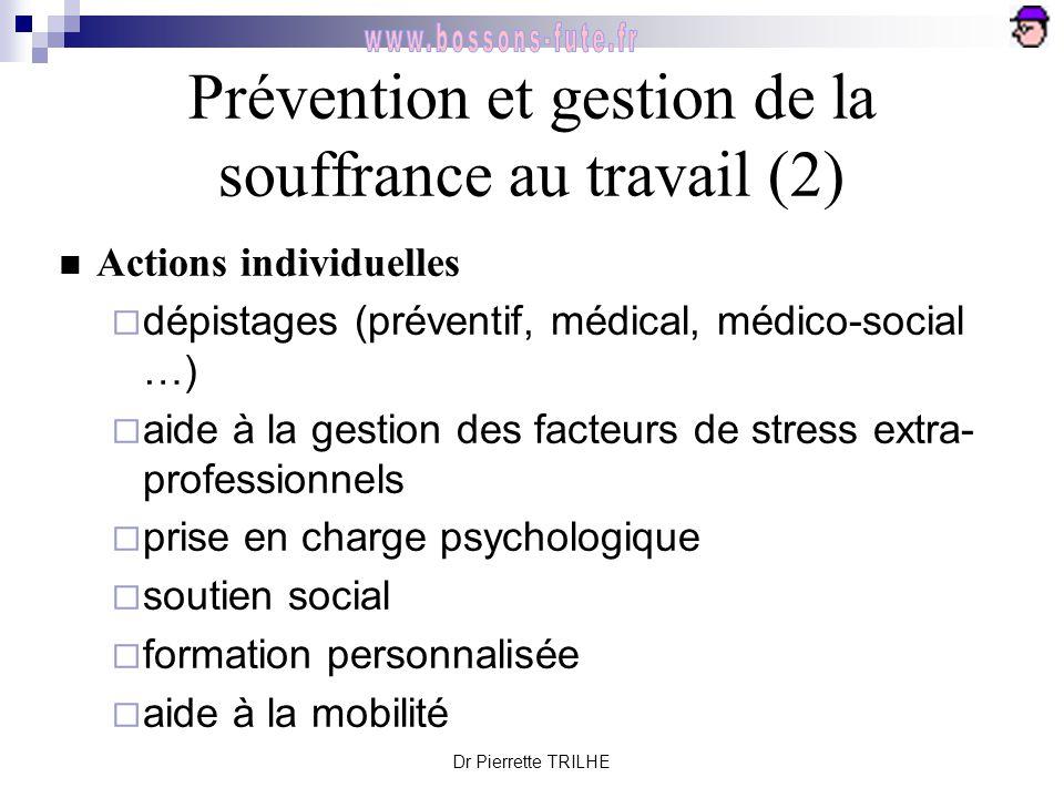 Dr Pierrette TRILHE Prévention et gestion de la souffrance au travail (2) Actions individuelles  dépistages (préventif, médical, médico-social …)  a