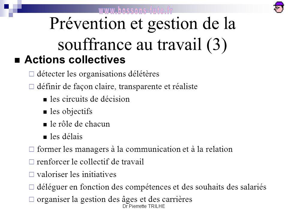 Dr Pierrette TRILHE Prévention et gestion de la souffrance au travail (3) Actions collectives  détecter les organisations délétères  définir de faço
